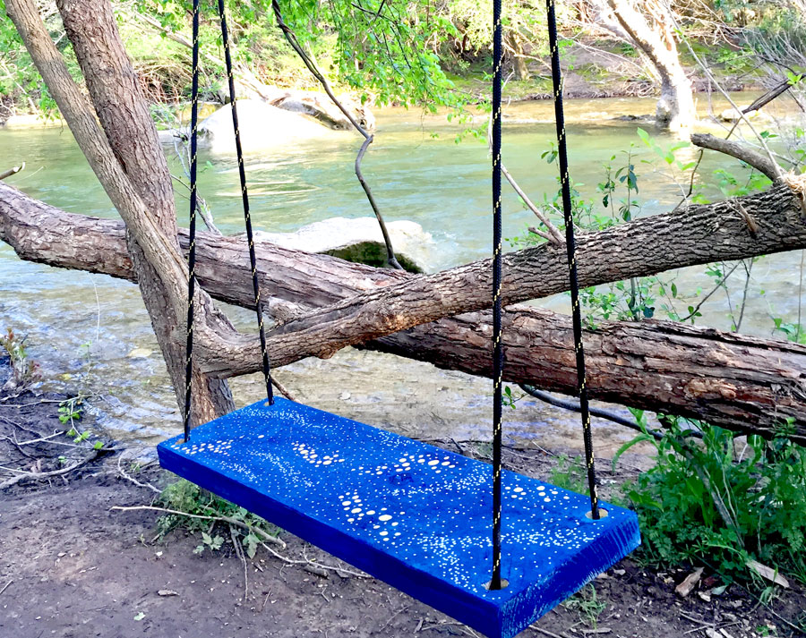 I've only been out of my job for a week and I already feel much more relaxed and creative. I found this wooden swing along Barton Creek and decided it needed a paint job.